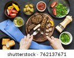 portion lunch. a la carte lunch.... | Shutterstock . vector #762137671