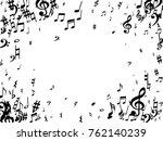 black musical notes flying... | Shutterstock .eps vector #762140239