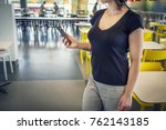 young woman with modern... | Shutterstock . vector #762143185