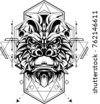 gorilla in sacred geometric...   Shutterstock .eps vector #762146611