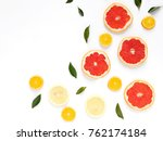 pattern of fresh fruits on a... | Shutterstock . vector #762174184