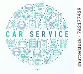 car service concept in circle... | Shutterstock .eps vector #762177439