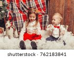 merry christmas and happy... | Shutterstock . vector #762183841