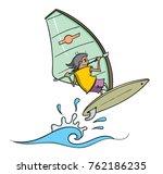 Cartoon Windsurfer Jumping Ove...