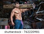 muscular man at work   Shutterstock . vector #762220981