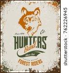 vintage wolf custom motors club ...   Shutterstock .eps vector #762226945