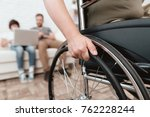 woman veteran in wheelchair... | Shutterstock . vector #762228244