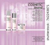 3d realistic cosmetic bottle... | Shutterstock .eps vector #762243871