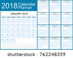 calendar planner for 2018 year. ... | Shutterstock .eps vector #762248359