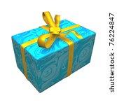 blue gift box over white...   Shutterstock . vector #76224847