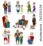 senior people cartoon set of... | Shutterstock . vector #762252124