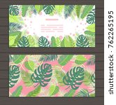 set of cards on tropical jungle ... | Shutterstock .eps vector #762265195