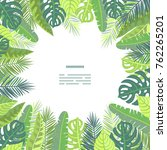card on tropical jungle leaves... | Shutterstock .eps vector #762265201