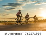 group of  men ride  bicycles at ... | Shutterstock . vector #762271999