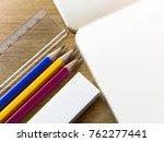notebooks  pencils  erasers ... | Shutterstock . vector #762277441