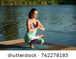young healthy woman practicing... | Shutterstock . vector #762278185
