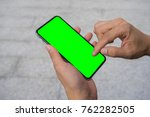 man's hand using mobile... | Shutterstock . vector #762282505