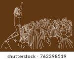 vector art drawing of concert... | Shutterstock .eps vector #762298519