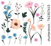 set of hand drawn flowersl... | Shutterstock .eps vector #762307615