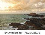 rocky coastline at saint malo ... | Shutterstock . vector #762308671