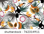 tropical pattern with colorful... | Shutterstock .eps vector #762314911