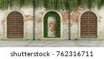 old facade with wooden doorways ... | Shutterstock . vector #762316711