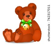 soft toy teddy bear with jingle ... | Shutterstock .eps vector #762317011