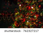 classic green new year tree... | Shutterstock . vector #762327217