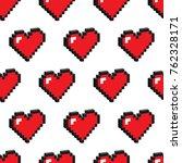 pixel hearts vector seamless... | Shutterstock .eps vector #762328171