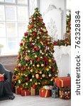 classic white christmas... | Shutterstock . vector #762328384