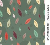 seamless pattern with feathers... | Shutterstock .eps vector #762331231