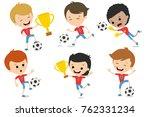 funny guys play football....   Shutterstock .eps vector #762331234