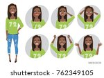 set of emotions and gestures to ... | Shutterstock .eps vector #762349105
