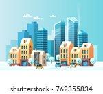 urban winter landscape. snowy... | Shutterstock .eps vector #762355834