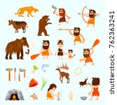 stone age flat icons set with... | Shutterstock . vector #762363241