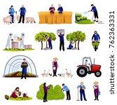 farmers and gardeners work... | Shutterstock . vector #762363331