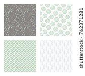 set of vector seamless floral... | Shutterstock .eps vector #762371281