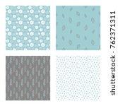 set of vector seamless floral... | Shutterstock .eps vector #762371311