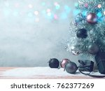 christmas tree background with... | Shutterstock . vector #762377269