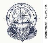 compass and mountains t shirt... | Shutterstock .eps vector #762393745