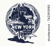 new york tattoo and t shirt... | Shutterstock .eps vector #762393985