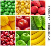 fresh fruits and vegetables... | Shutterstock . vector #76240039