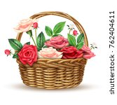 beautiful flowers basket... | Shutterstock . vector #762404611