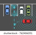autonomous car parking top view.... | Shutterstock .eps vector #762406351