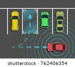 autonomous car parking top view.... | Shutterstock .eps vector #762406354