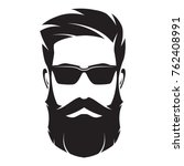 bearded man's face  hipster... | Shutterstock .eps vector #762408991