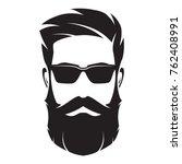 bearded man's face  hipster... | Shutterstock .eps vector #762408991
