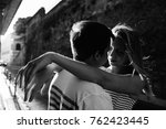 young couple hugging each other ... | Shutterstock . vector #762423445