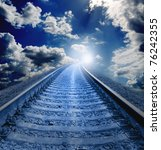 railroad at night in white hole - stock photo