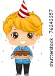 Illustration of a Kid Holding a Birthday Cake - stock vector